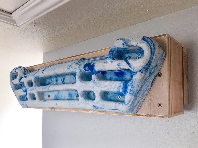 Metolius hangboard mounted to wall