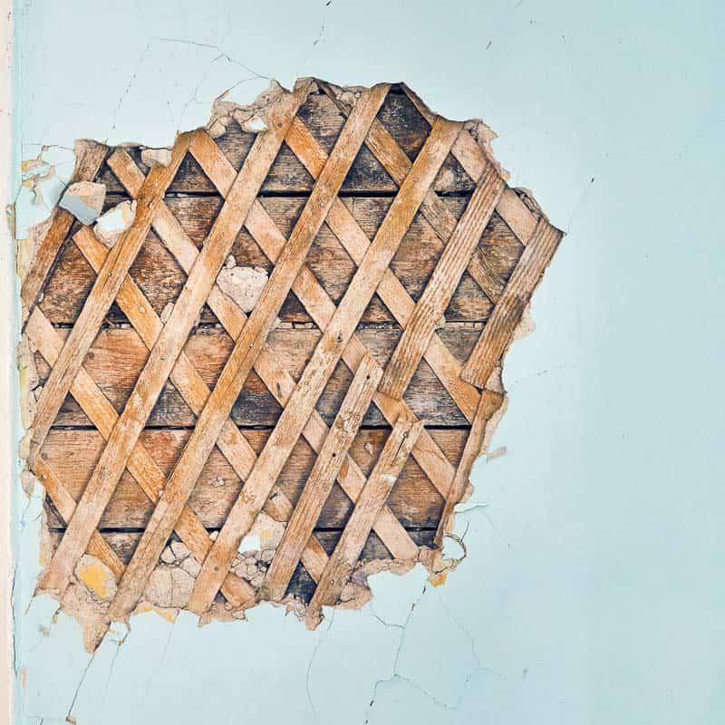 lath and plaster wall with hole