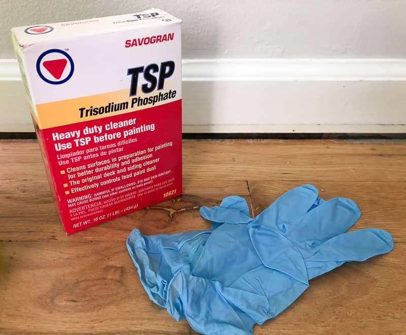TSP and gloves for cleaning before painting baseboards
