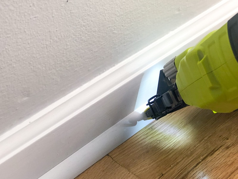 nailing quarter round trim to baseboards with brad nailer