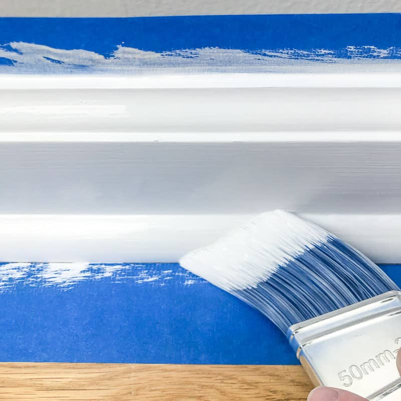 painting quarter round trim on baseboards