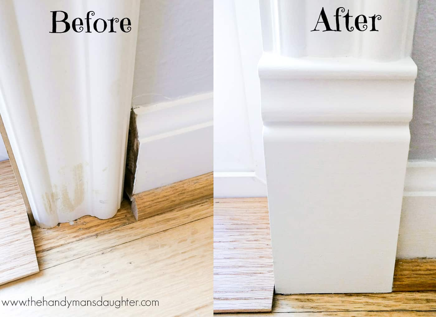 plinth block transition between door trim and baseboards before and after