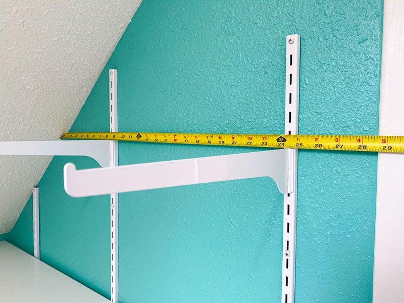 measuring length of shelf on sloped ceiling