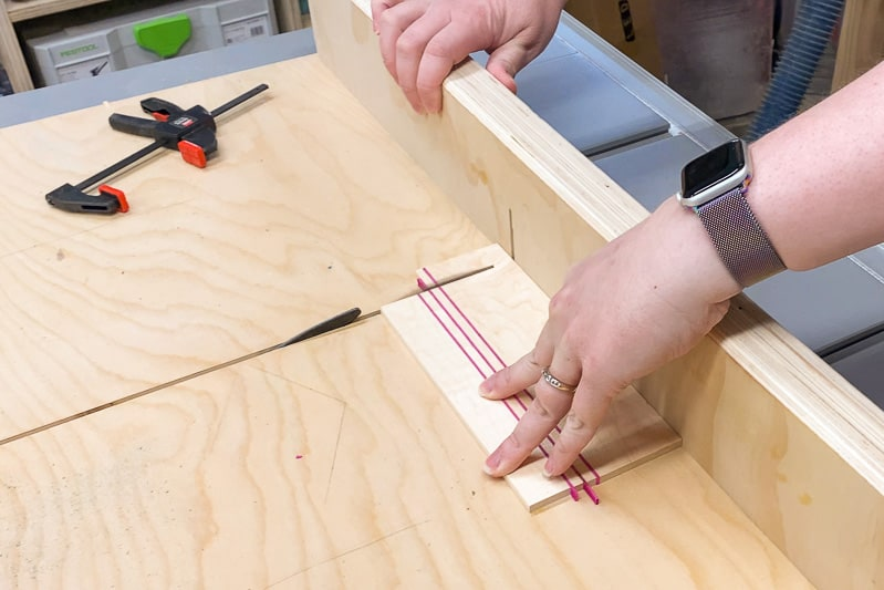 cutting off excess from DIY coasters with table saw