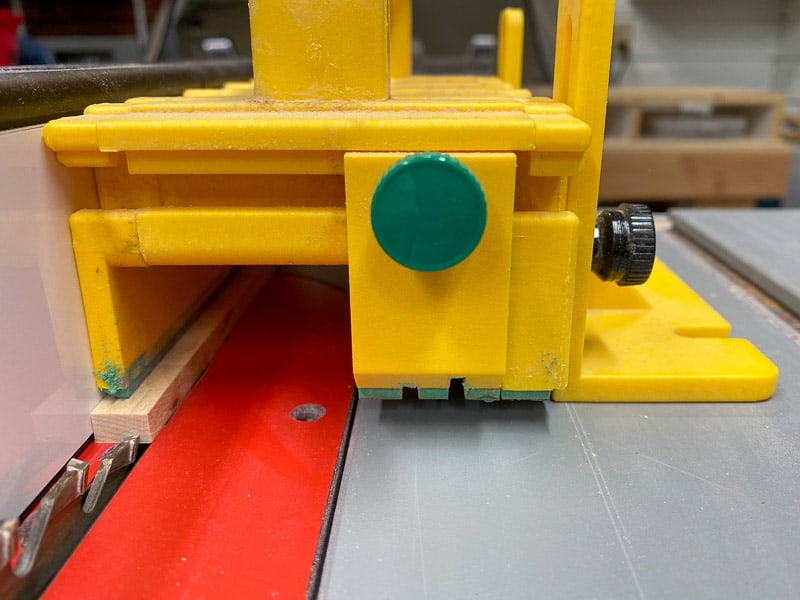 """cutting ¼"""" strip on the table saw with a Grr-ripper"""