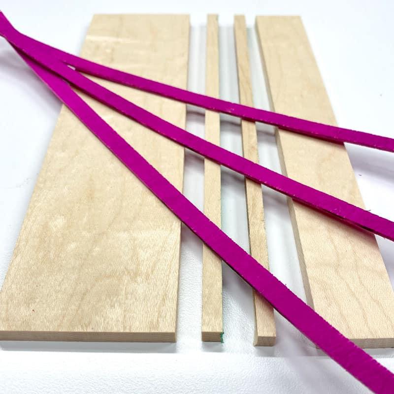 strips of maple wood and dyed wood veneer for diy wood coasters