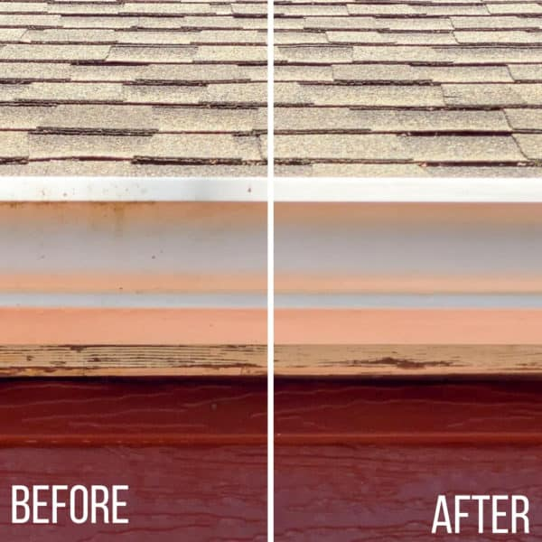 how to clean outside of gutters before and after