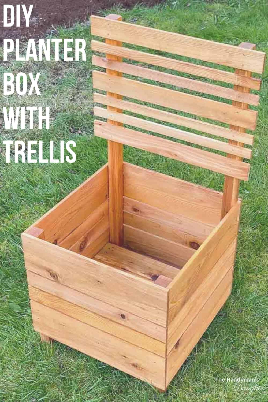 Planter Box with Trellis on grassy lawn