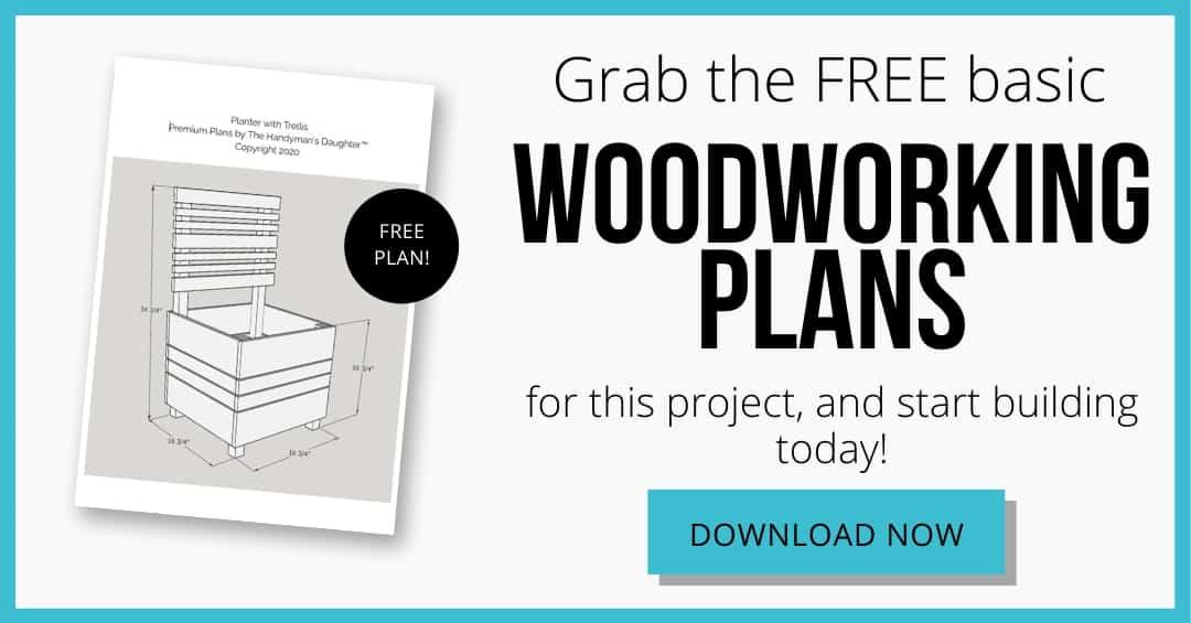 download button for free woodworking plans for DIY planter box with trellis