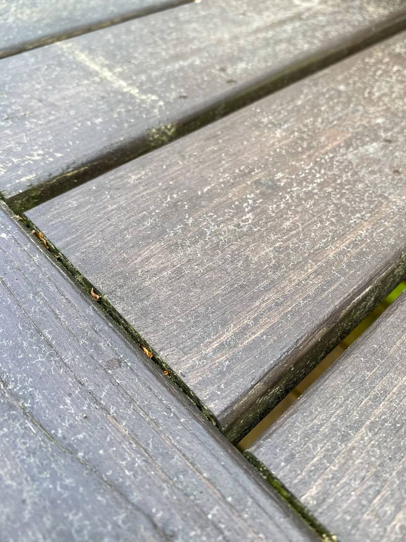 pollen and mildew on outdoor furniture