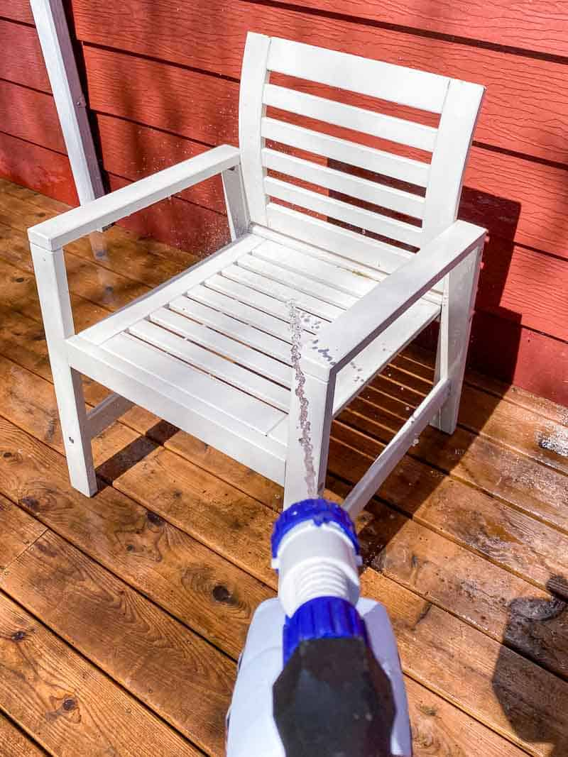 rinsing off patio furniture