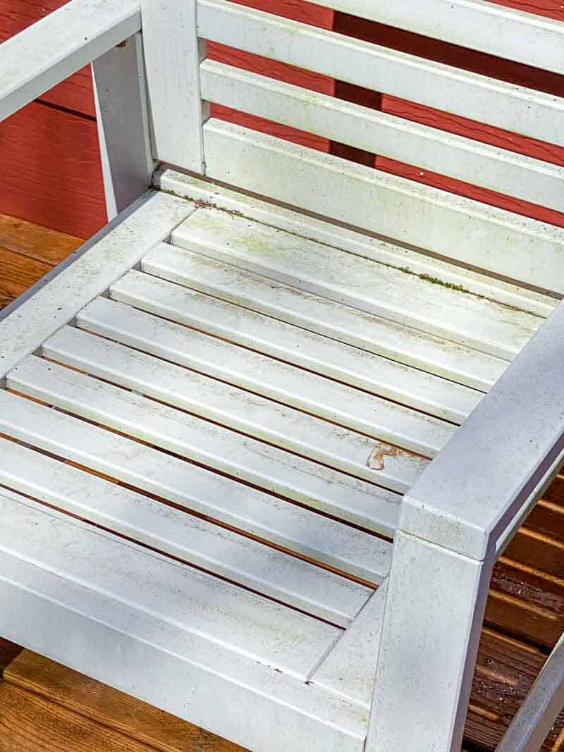 outdoor furniture with mildew and dirt