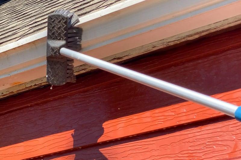 scrubbing outside of gutters