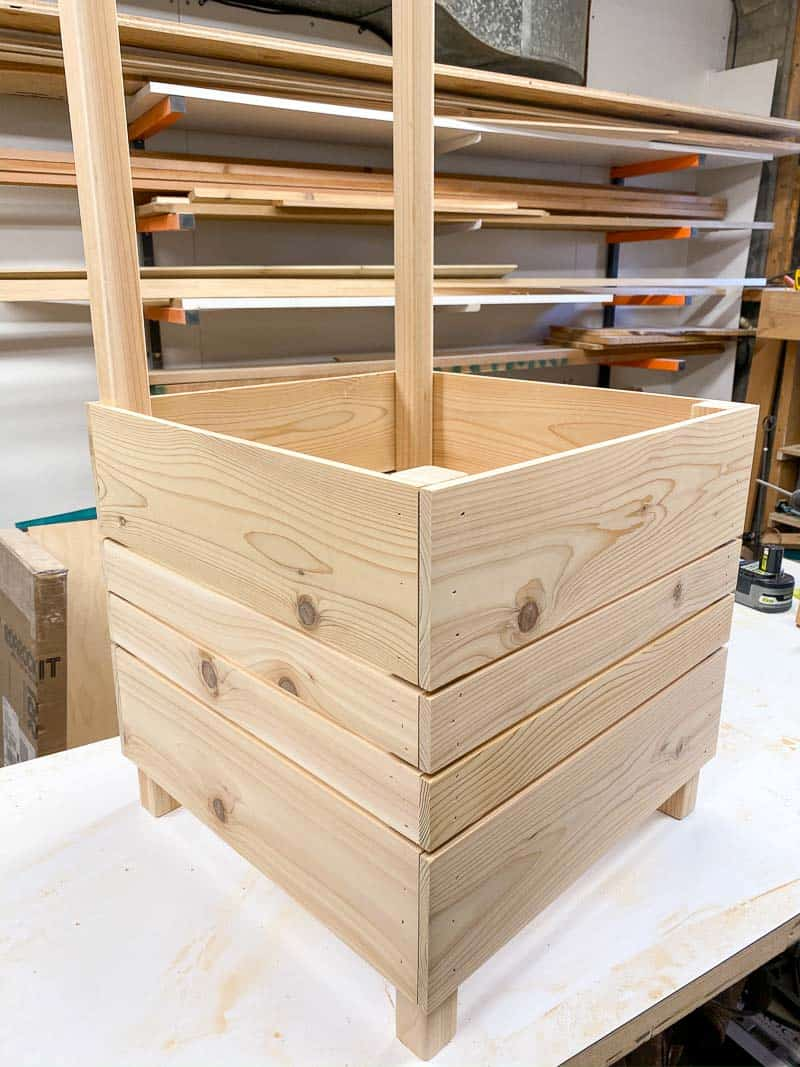 Bottom slats of the planter box complete