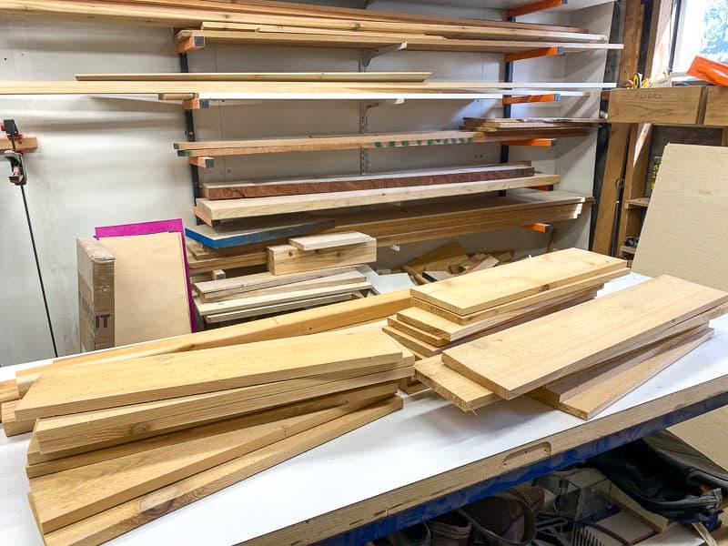 scrap wood on workbench
