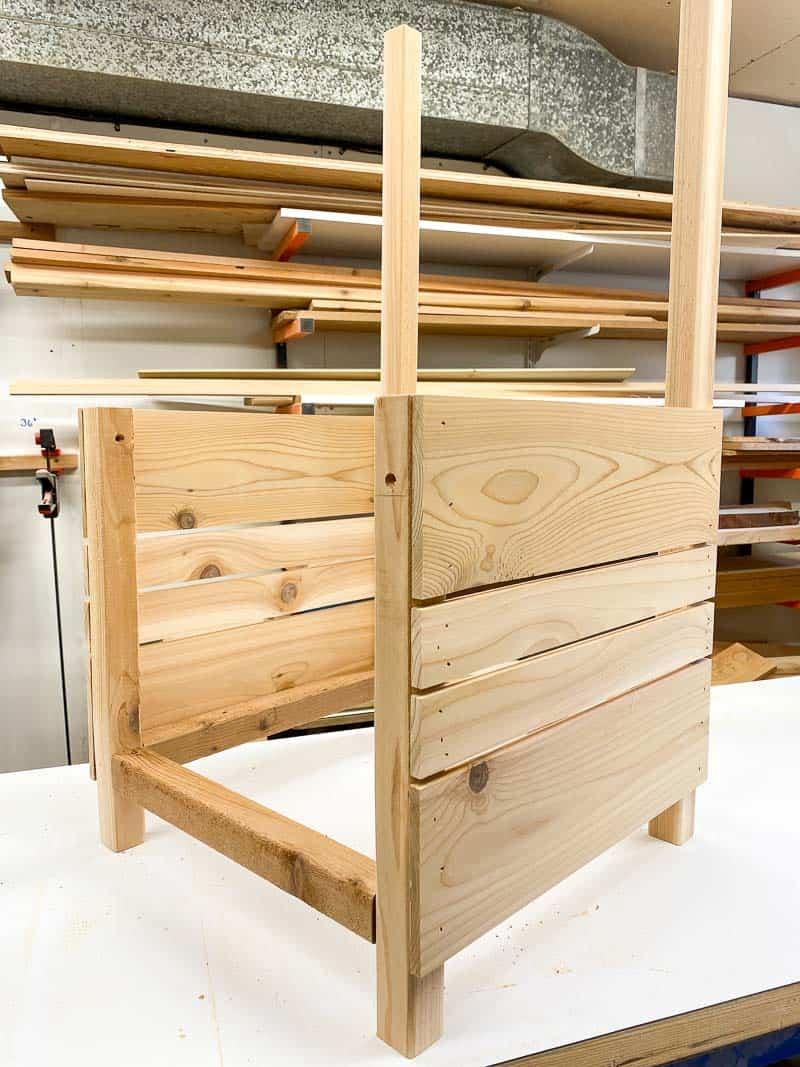 side slats of DIY planter box complete