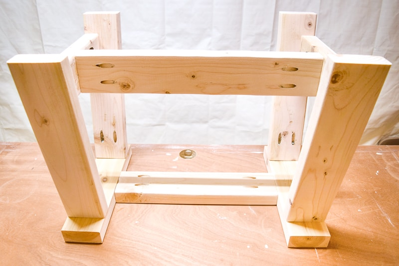 legs of 2x4 bench connected with stretchers