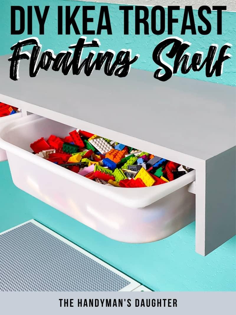 DIY Floating Shelf storage bins
