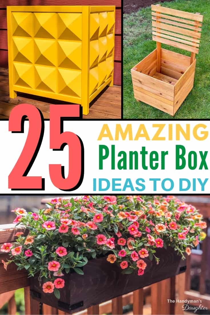 collage of DIY planter box designs
