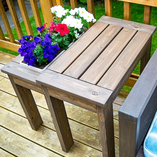 DIY end table with planter box