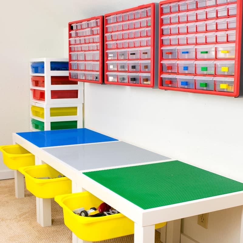 DIY lego table with storage bins