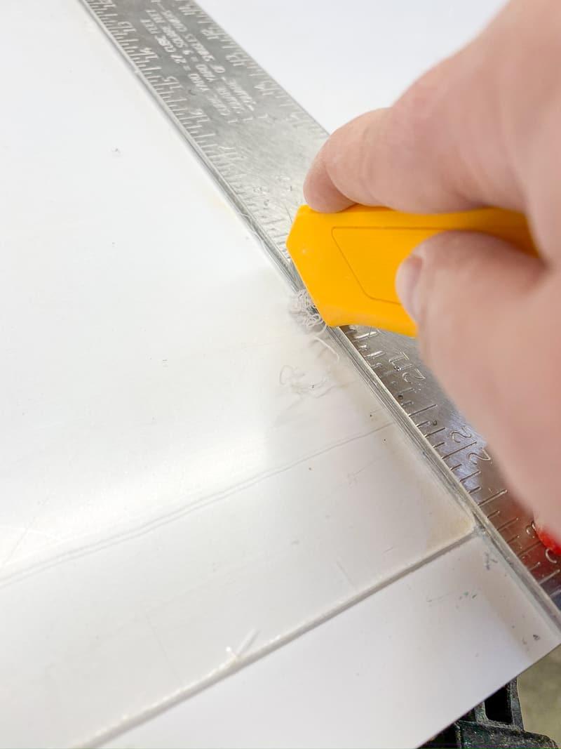 cutting acrylic strip for DIY magazine rack