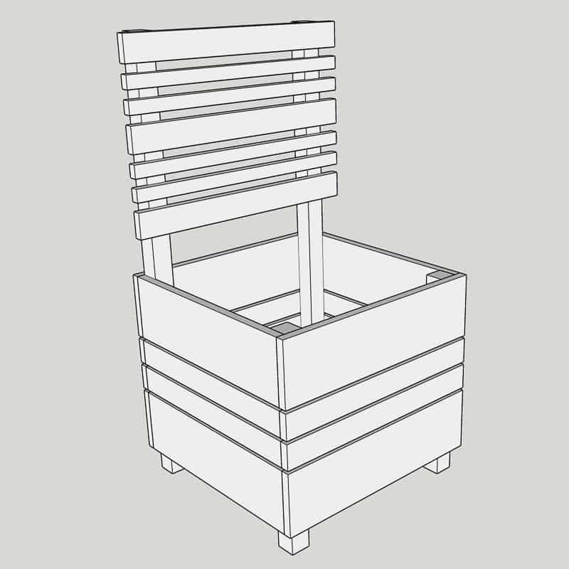 plan for DIY planter box with trellis