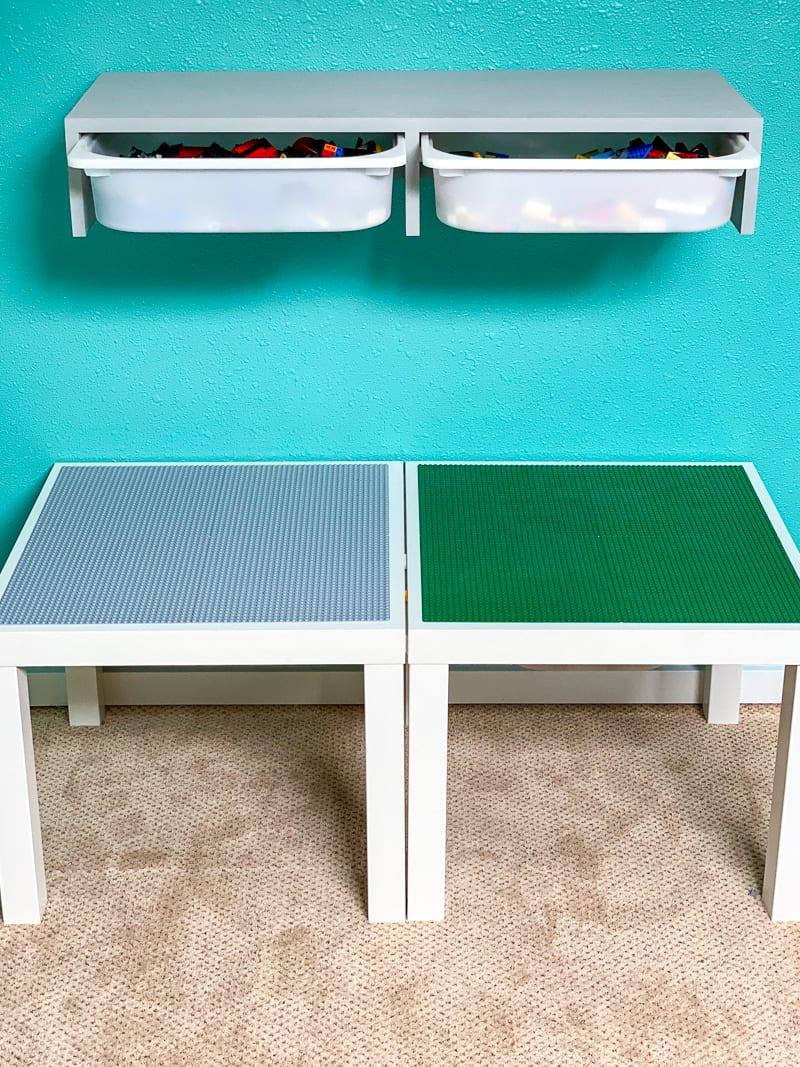 DIY IKEA Trofast shelf above Lego tables
