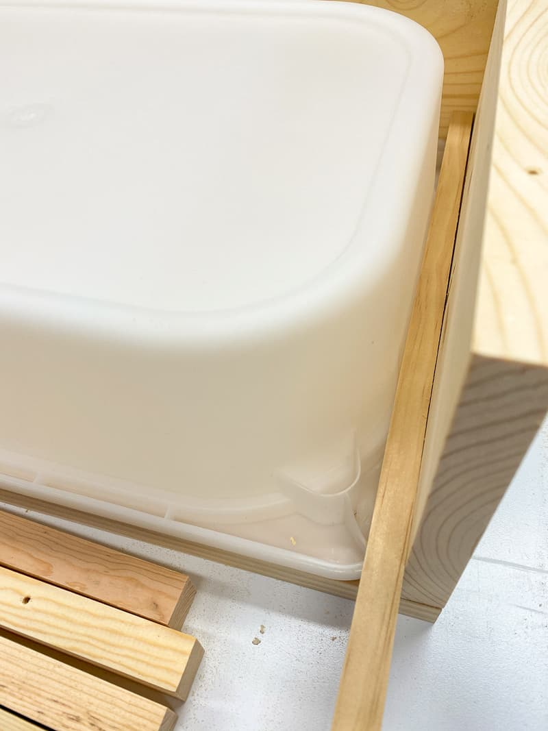 testing fit of Trofast shelf side supports