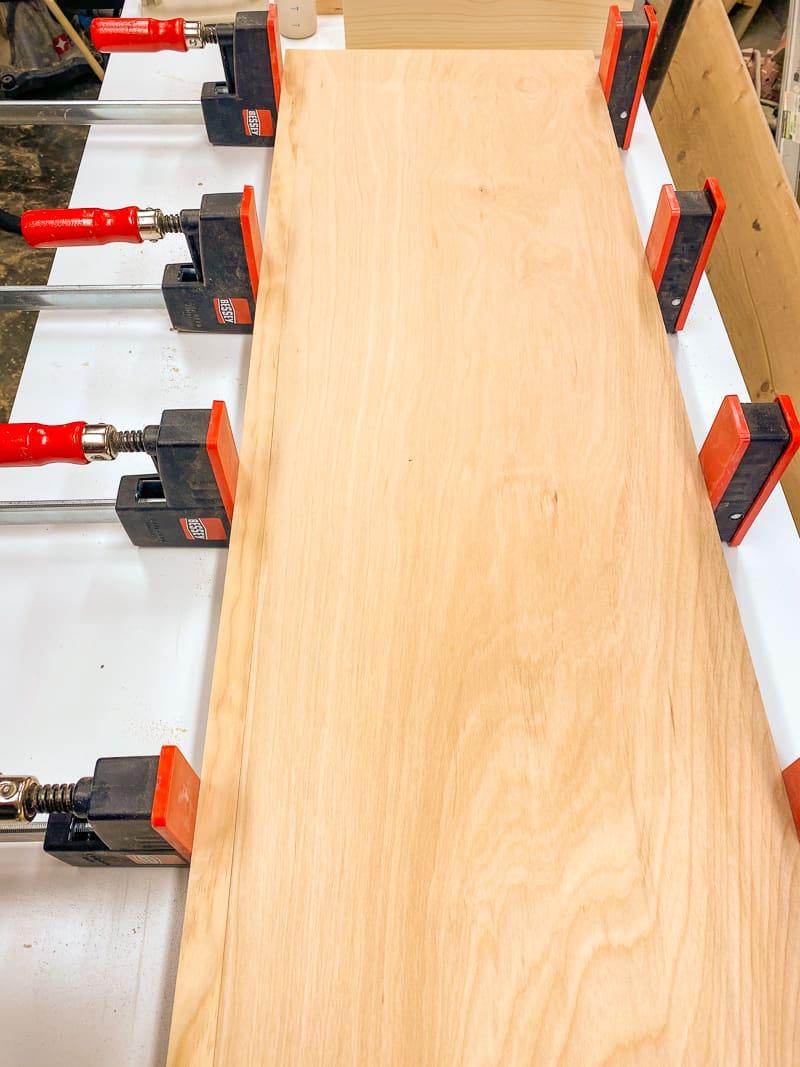 solid wood edge banding on plywood top of Trofast shelf