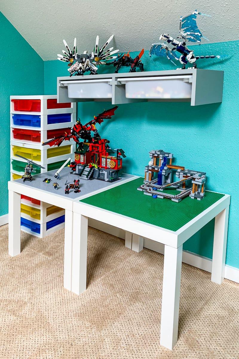 IKEA Trofast shelf above Lego table