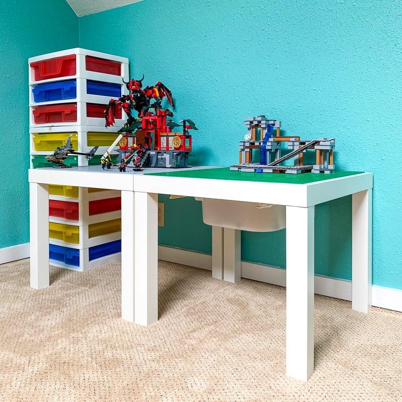 lego tables in corner of room