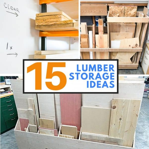 lumber storage ideas collage