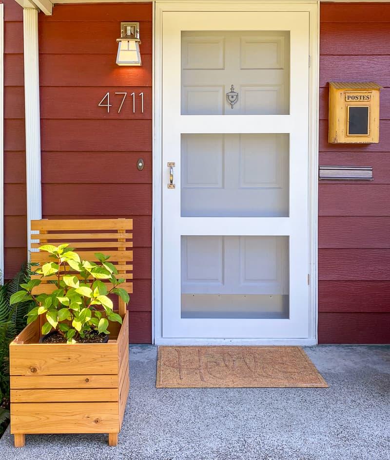 White DIY screen door with three panes