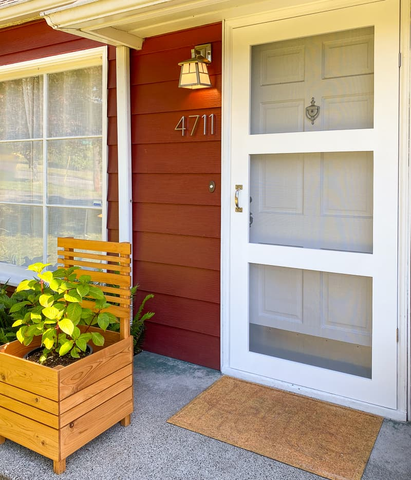 DIY screen door with matching front window and planter box