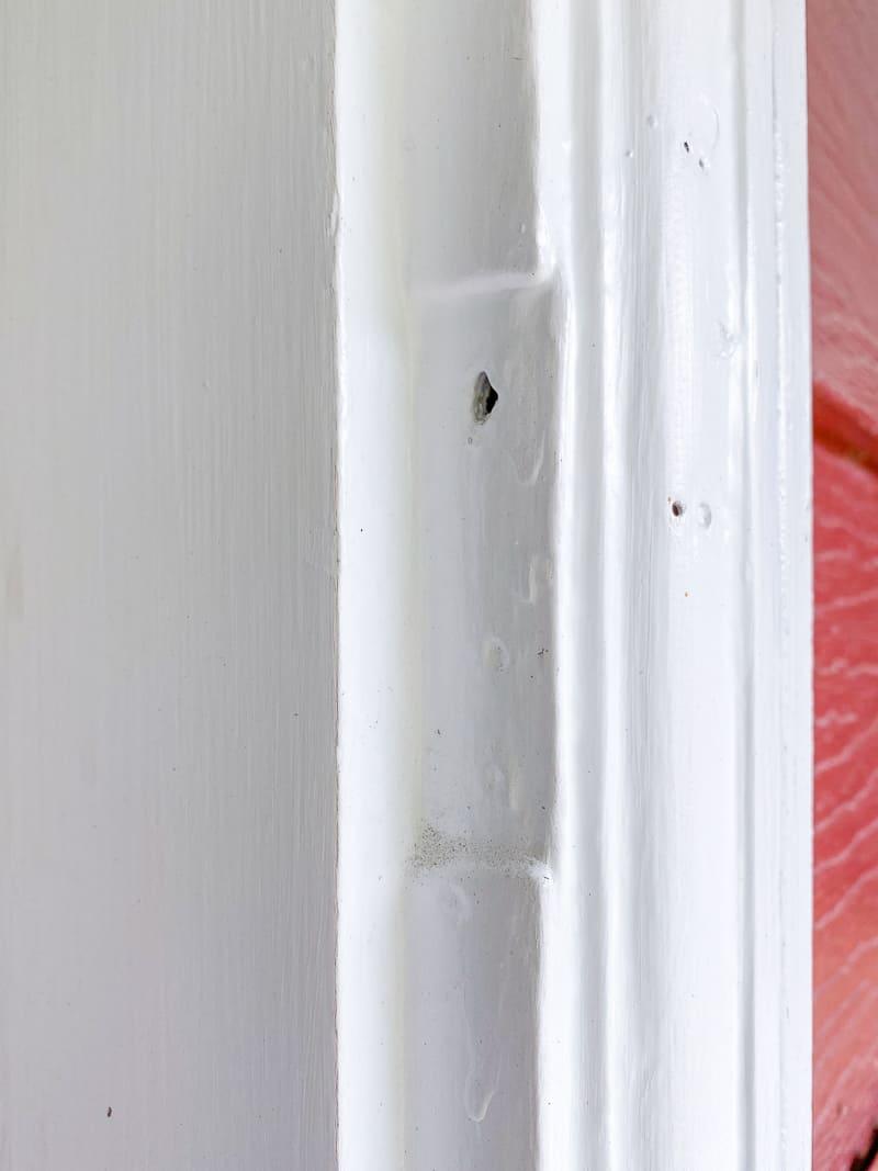hinge cut out in door frame for screen door
