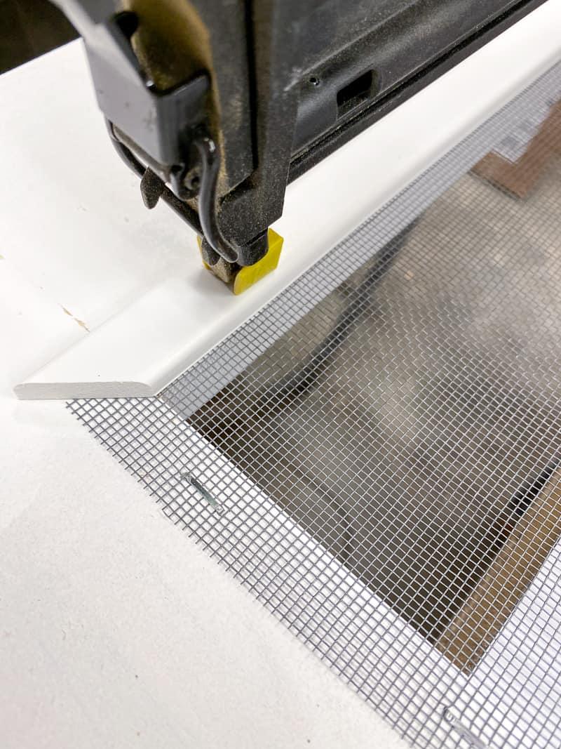 nailing screen moulding to perimeter of DIY screen door
