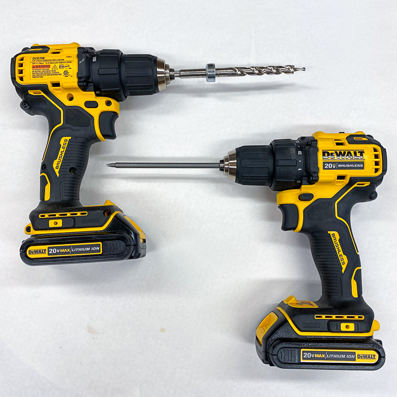 two drills, one with driver bit and one with drill bit