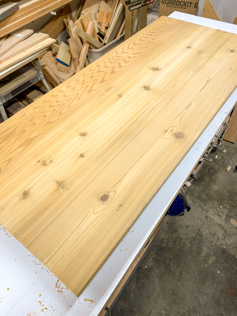 cedar bench top with paint stripped off