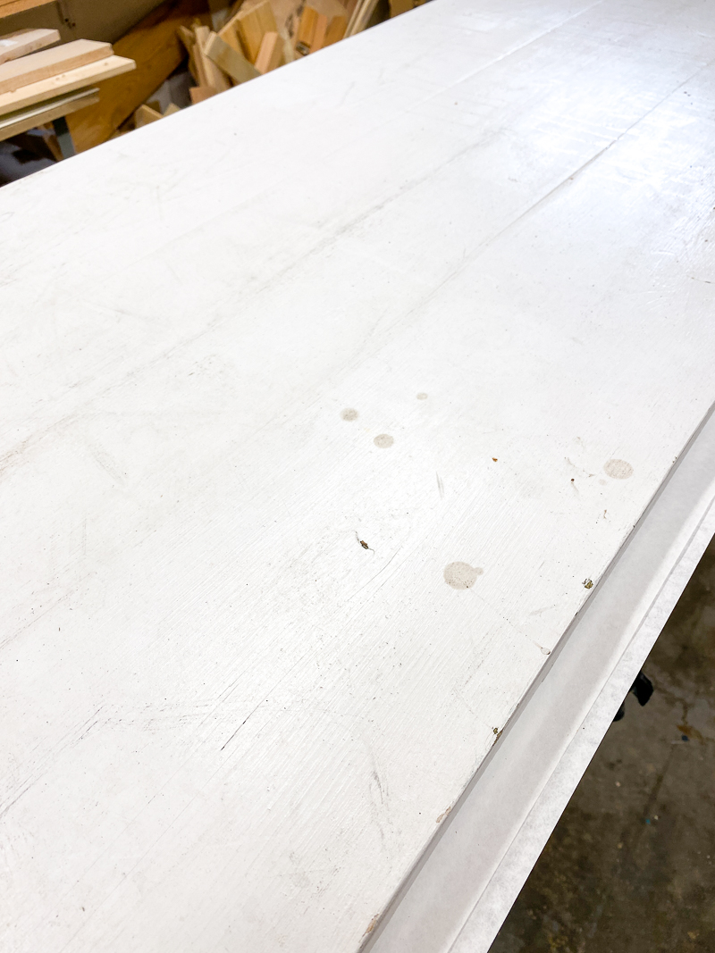 white paint on cedar bench top