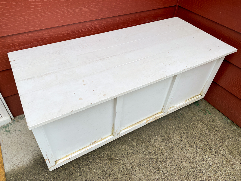 outdoor storage bench after years in the rain