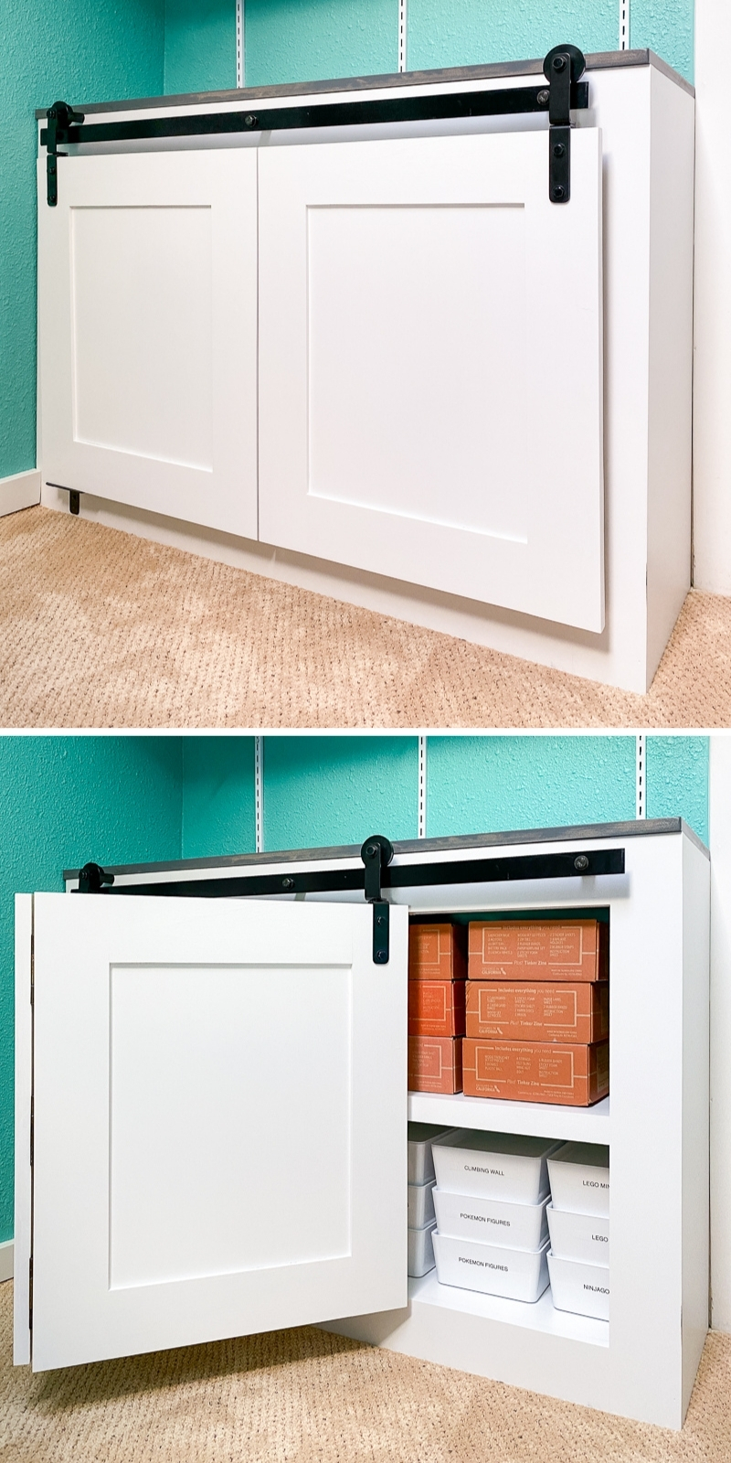 open and closed views of bifold barn doors on cabinet