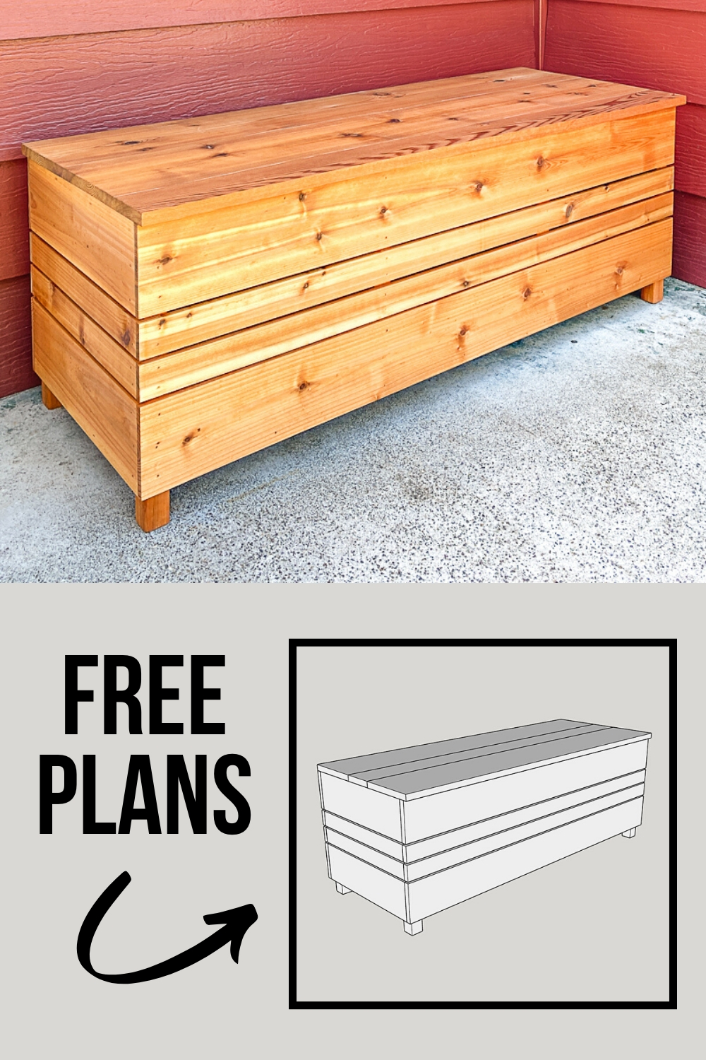DIY outdoor storage box with free woodworking plans
