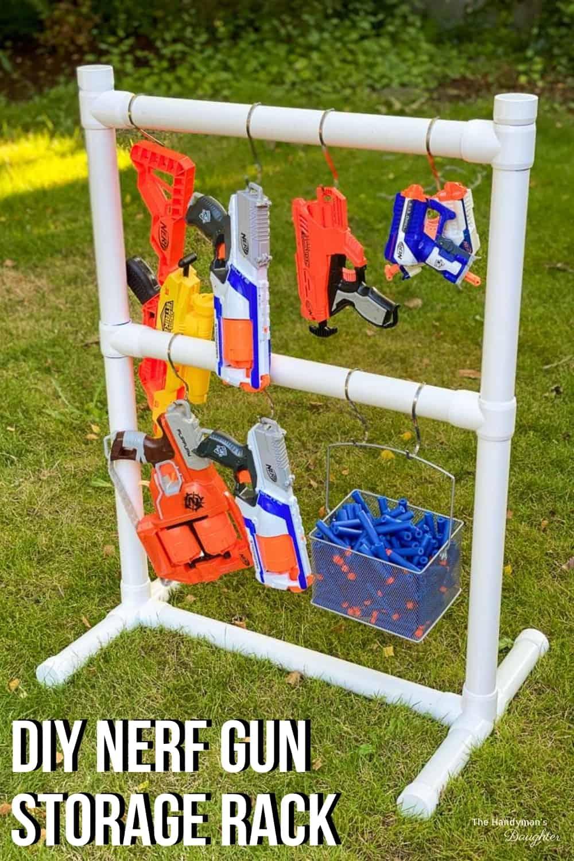 DIY Nerf gun storage rack