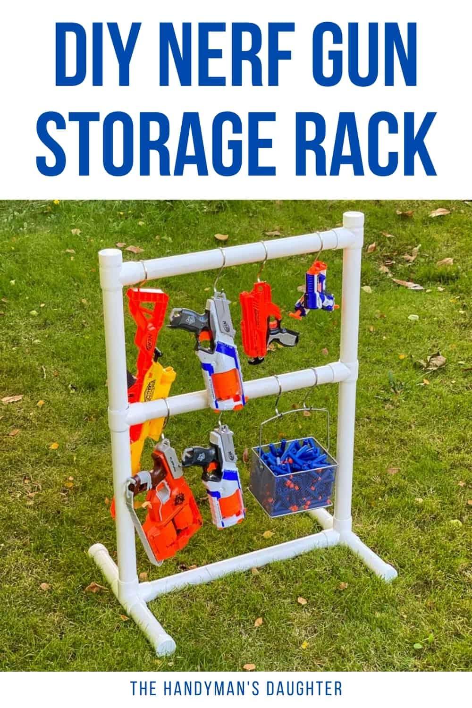 Easy DIY Nerf gun storage rack with basket for darts