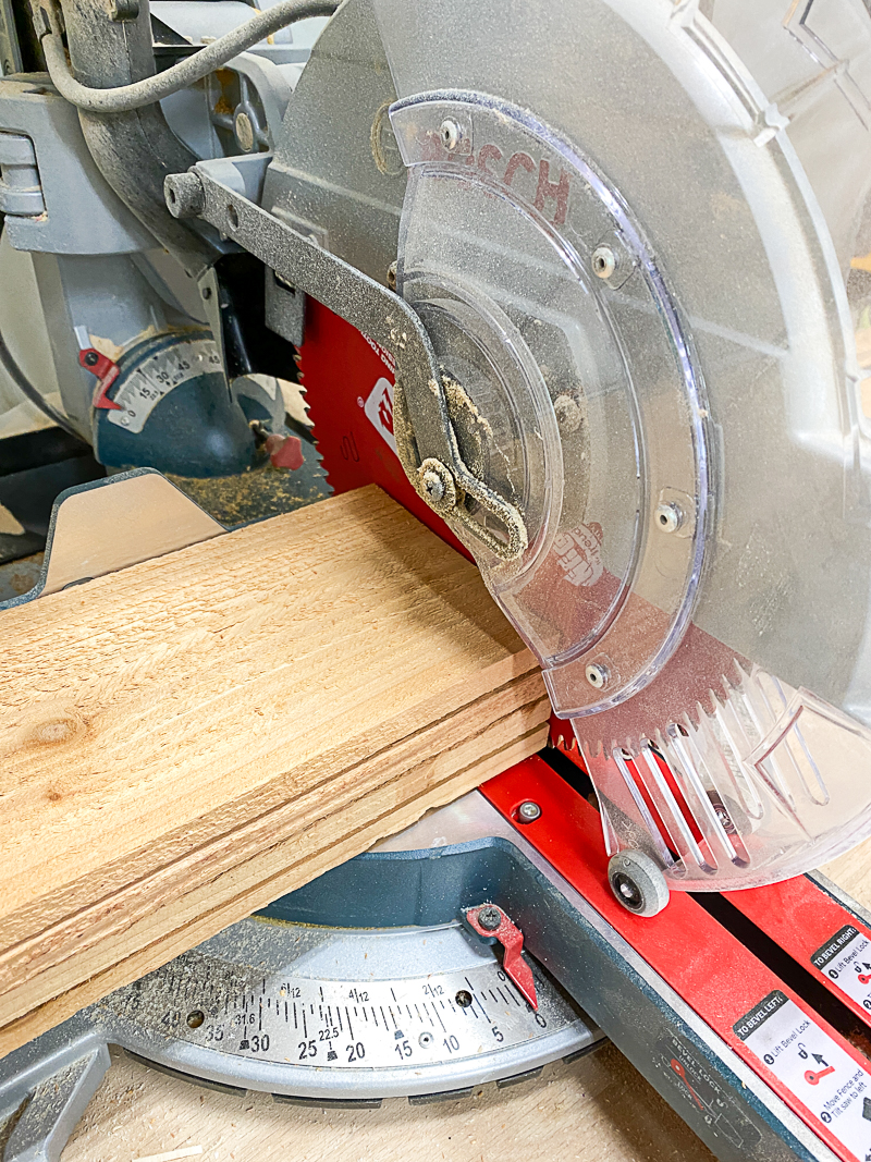 cutting stack of fence pickets at the miter saw