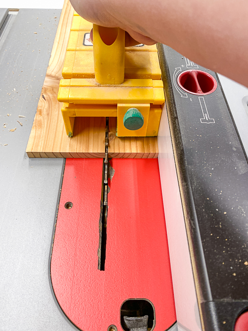 ripping cedar fence pickets to width at the table saw