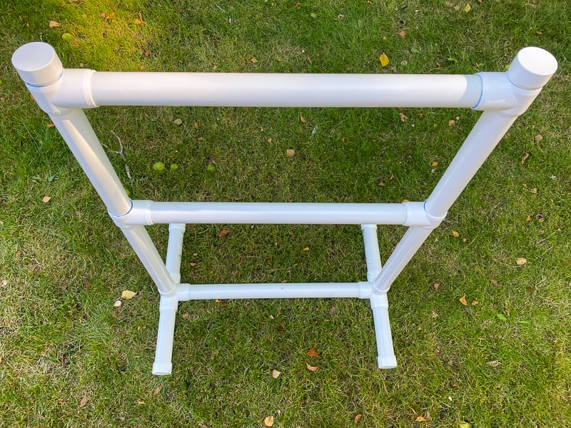 Nerf gun rack made of PVC pipe