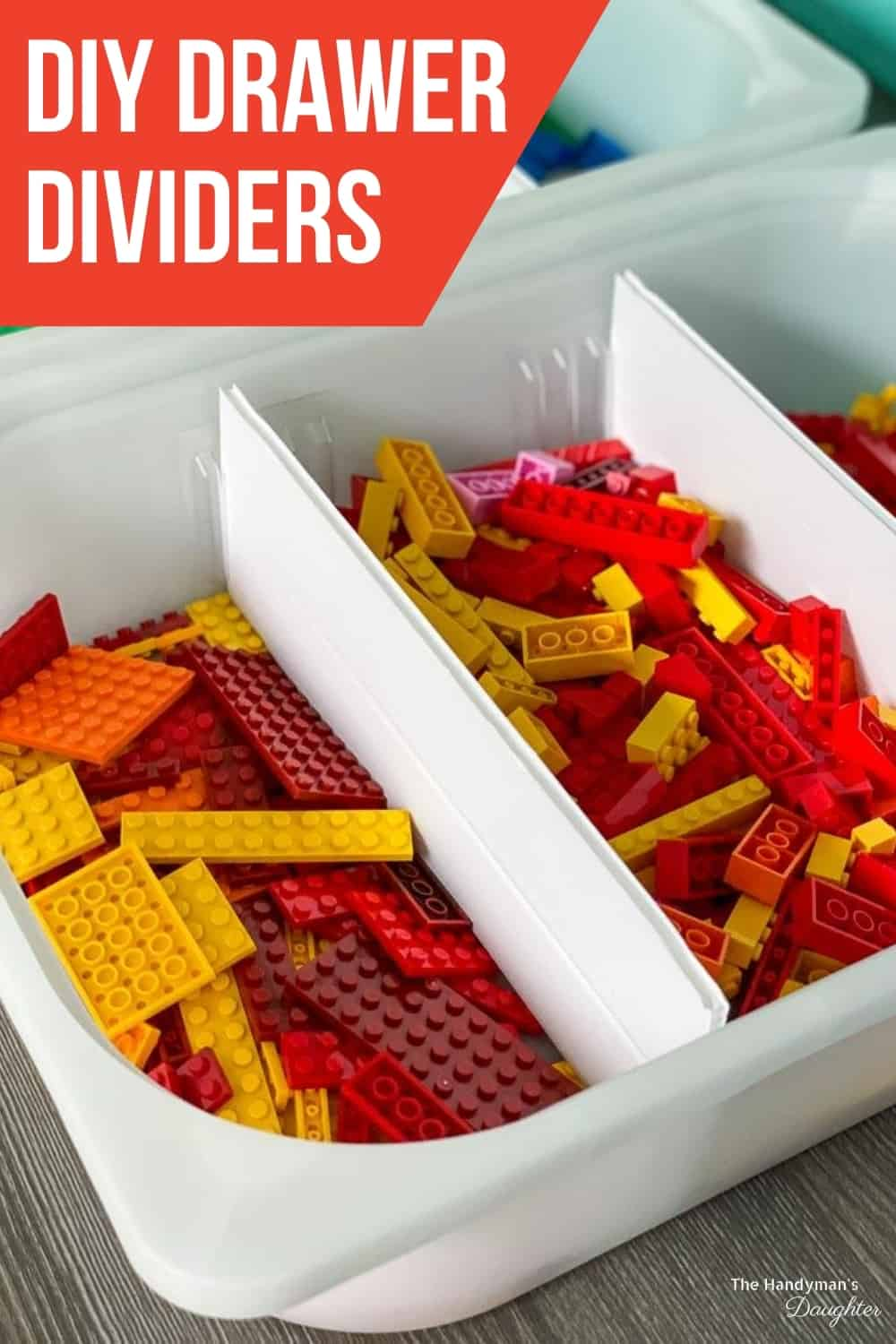 DIY drawer dividers with red Lego pieces sorted by size