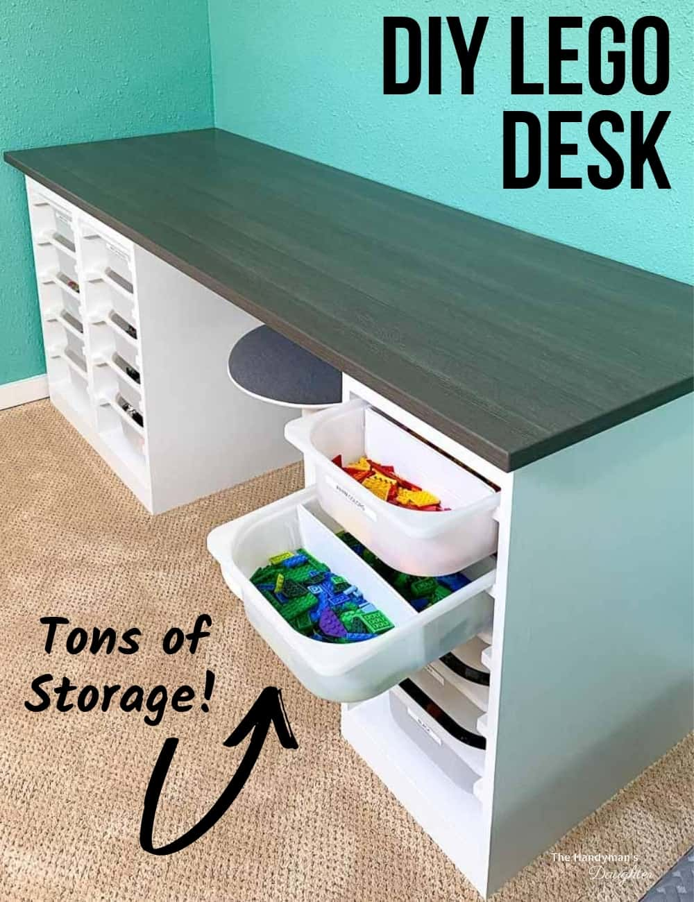 DIY Lego desk with tons of storage